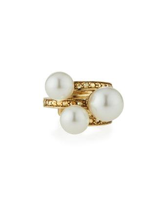 Pearly Swarovski® Crystal Stacked Ring