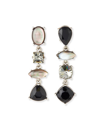 Mixed Swarovski® Crystal Drop Clip Earrings, Black