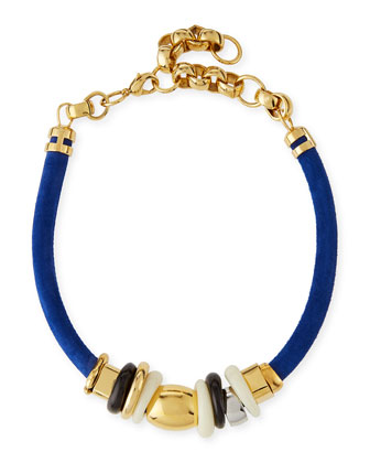 Treasure Surf Suede Necklace, Blue