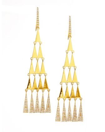 Diamond-Trimmed Triangular Chandelier Earrings