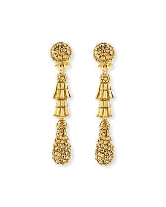Golden Tiered Baguette Teardrop Earrings