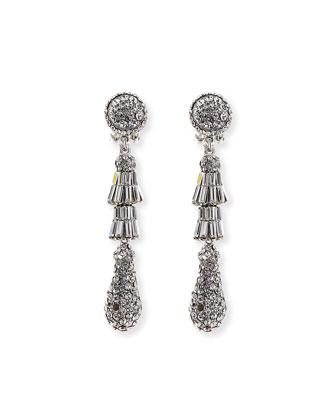 Rhodium Tiered Baguette Teardrop Earrings