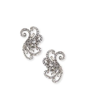 Swirled Crystal Clip-On Earrings