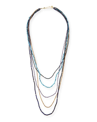 Five-Strand Crystal Necklace, Blue Mix