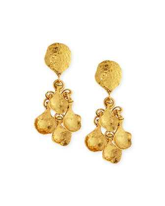 Gold-Plated Hammered Disc Clip Drop Earrings