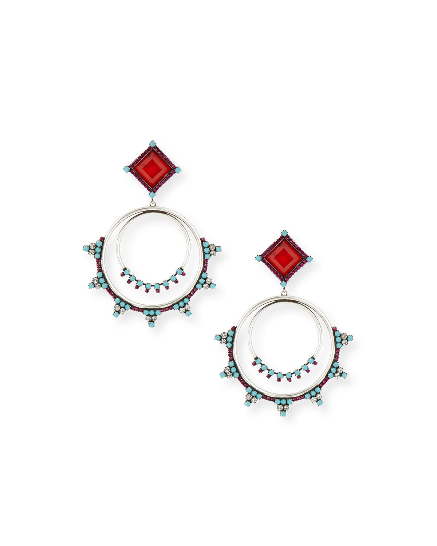 Ubaldo Round Drop Earrings, MULTI - Dannijo