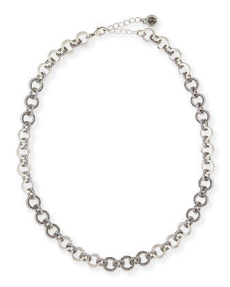 Eternal Silvertone Crystal Link Necklace