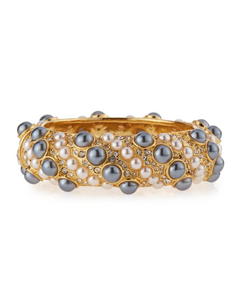 Pearly & Crystal Embellished Cuff Bracelet, Pearl/Gray Pearl