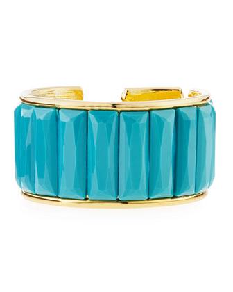 Faceted-Bar Cuff Bracelet, Gold
