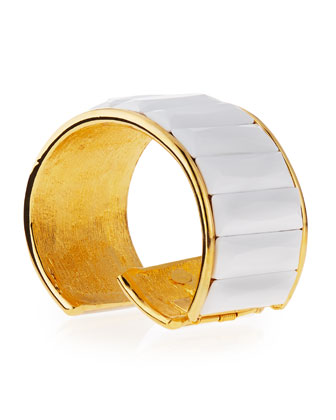 Faceted-Bar Cuff Bracelet, Gold/White