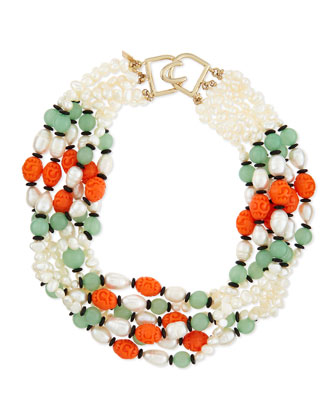 Pearly Colorblock Multi-Strand Necklace, Coral/Jade