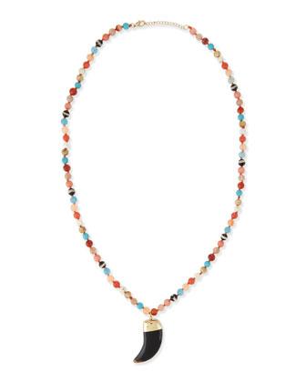 Long Agate Pendant Necklace, Multi, 32