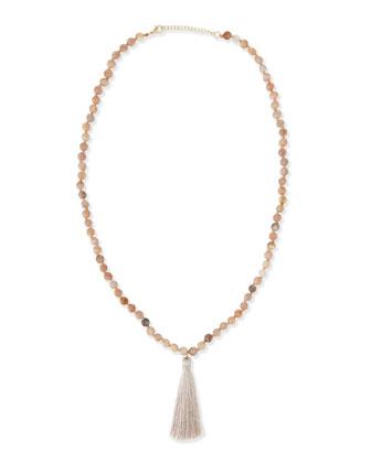 Long Beaded Tassel Necklace, Peach, 30