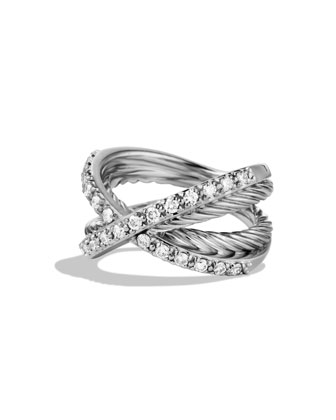 Pav?? Diamond Crossover Ring