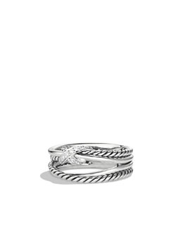 David Yurman Pave Diamond Crossover X Ring