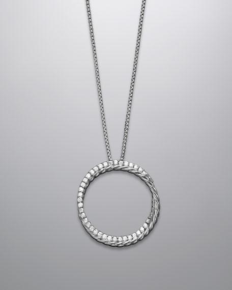 Pave Diamond Crossover Circle Necklace