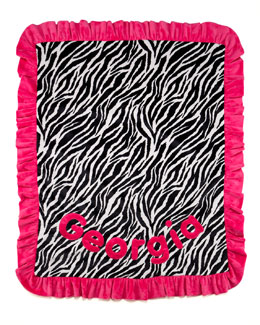 Boogie Baby Zebra-Striped Blanket, Personalized