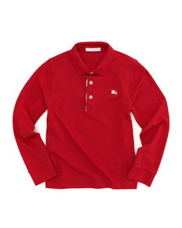 Burberry Check-Trim Polo, Military Red