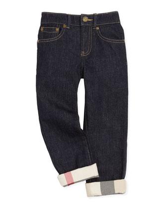 Mini Check-Cuff Jeans