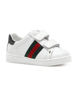 Gucci Ace Double-Strap Sneaker, White, Toddler