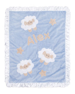Boogie Baby Blue Sheep Blanket, Personalized