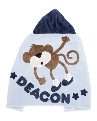 Blue Hanging Around Hooded Towel, Personalized