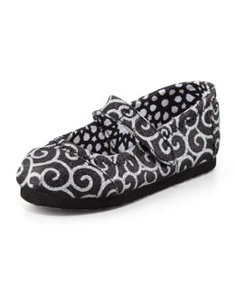 TOMS Swirl-Print Glitter Mary Jane, Tiny
