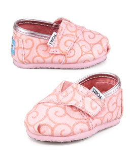 TOMS Swirl-Print Glitter Slip-On, Tiny