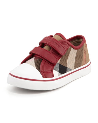 Check Double-Strap Sneaker, Red