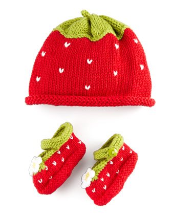 Strawberry Hat and Bootie Set