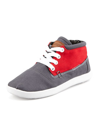 Colorblock Botas Shoe, Red/Gray, Youth