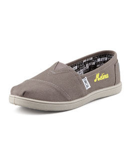 TOMS Personalized Classic Canvas Slip-On, Ash, Youth