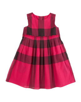 Burberry Check Dress with Ruffle Waist, Fuchsia