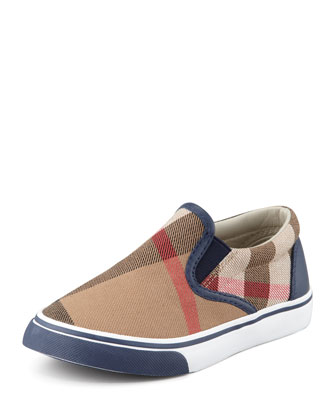 Navy Check Slip-On Sneaker