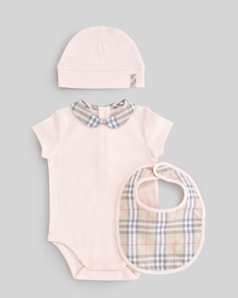Check Playsuit, Bib & Hat Set, Ice Pink