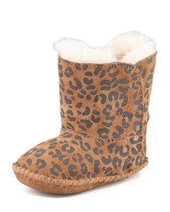 Cassie Leopard-Print Bootie, Chestnut