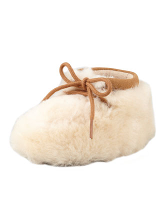 Pup Sheepskin Baby Bootie, Natural, 0/1-4/5