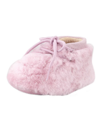 Pup Sheepskin Baby Bootie, Rose Quartz, 0/1-4/5