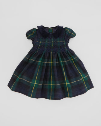 Tartan-Plaid Party Dress, Green/Navy, 3-9 Months