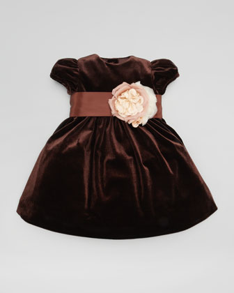 Velvet Silk Flower Dress, Chestnut Brown, 3-9 Months