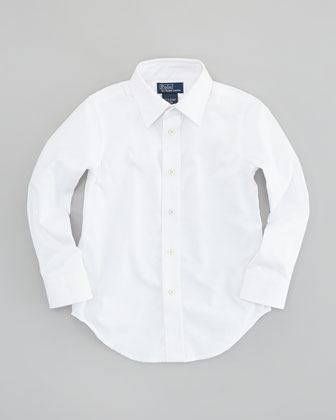 Lowell Long-Sleeve Dress Shirt, White, Sizes 2T-3T