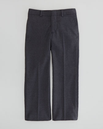 Wool-Twill Flat-Front Pants, Dark Gray, Sizes 2-3