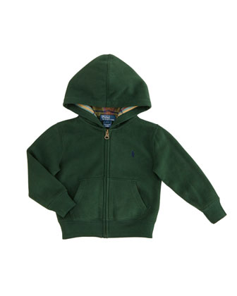 Long-Sleeve Zip Hoodie, Bentley Green, 2T-3T