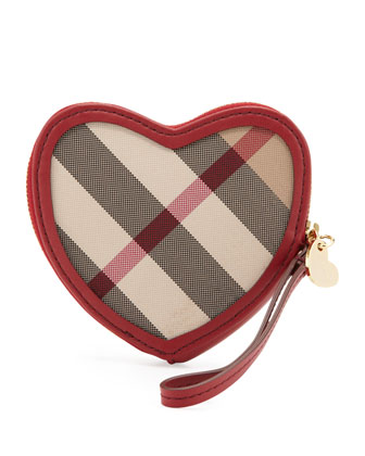 Check Heart-Shaped Coin Purse, Lacquer Red