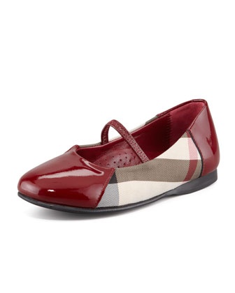 Check Patent-Trim Mary Jane Ballerina, Red Berry