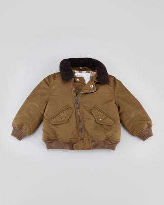 Infant Boys' Nylon Bomber Jacket, Olive Brown, 18M-2Y