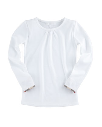 Check-Cuff Long-Sleeve Tee, White, 4-10Y
