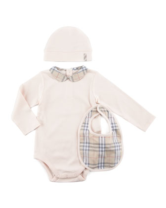 New Born Check Playsuit, Bib & Hat Set, Ice Pink