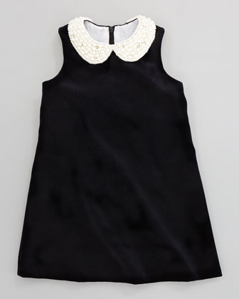 Beaded-Collar Velvet Dress, Black