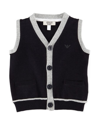 Sweater Vest with Contrast Trim, Blue, 3-24 Months